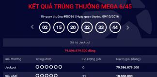 Kết quả xổ số kiểu mỹ tự chọn số điện toán Mega 6/45 Vietlott mới nhất chủ nhật ngày 09/10/2016