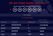 kết quả xổ số tự chọn mega 645 chủ nhật ngày 02102016 mới nhất của vietlott
