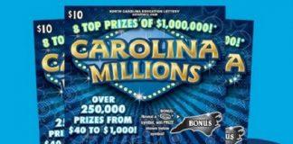 Giải xổ số cào Carolina Millions có 8 vé độc đắc trị giá một triệu đôla